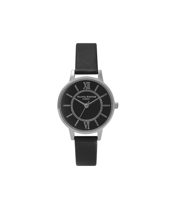 OLIVIA BURTON LONDON  Wonderland Black & Silver Watch OB15WD49 – Midi Dial Round in Silver and Black - Front view