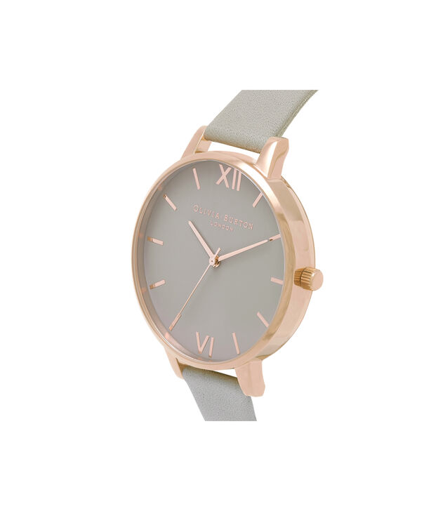 OLIVIA BURTON LONDON  Big Dial Grey And Rose Gold Watch OB15BD61 – Big Dial Round in Grey - Side view