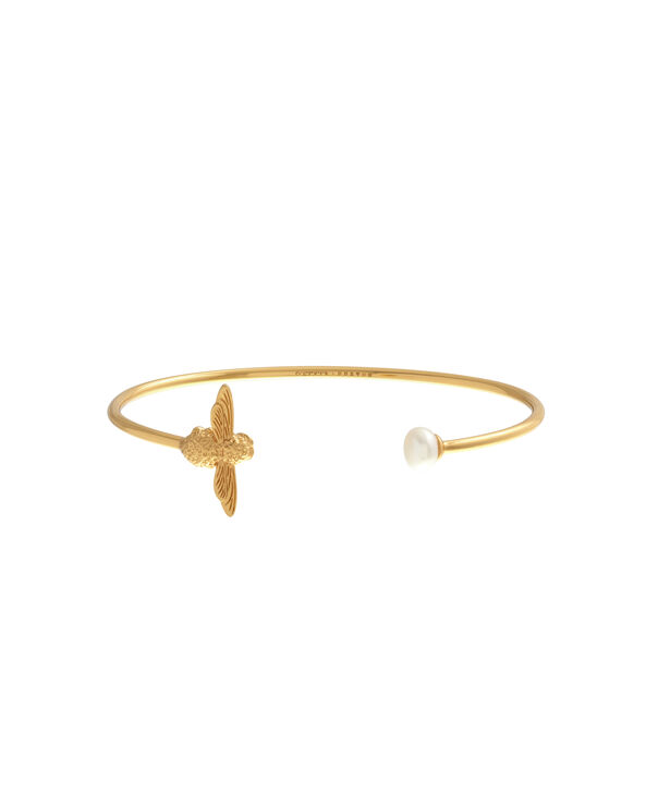 OLIVIA BURTON LONDON  Pearl Bee Bangle Gold  OBJ16AMB29 – Pearl Bee Bangle - Front view