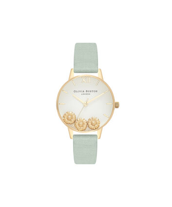 OLIVIA BURTON LONDON  Dancing Daisy Sage & Gold OB16CH17 – Big Dial Round in Gold - Front view