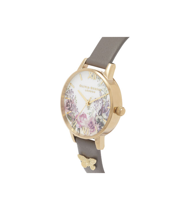 OLIVIA BURTON LONDON  Enchanted Garden London Grey & Gold OB16EG109 – Midi Dial Round in Gold and Grey - Side view