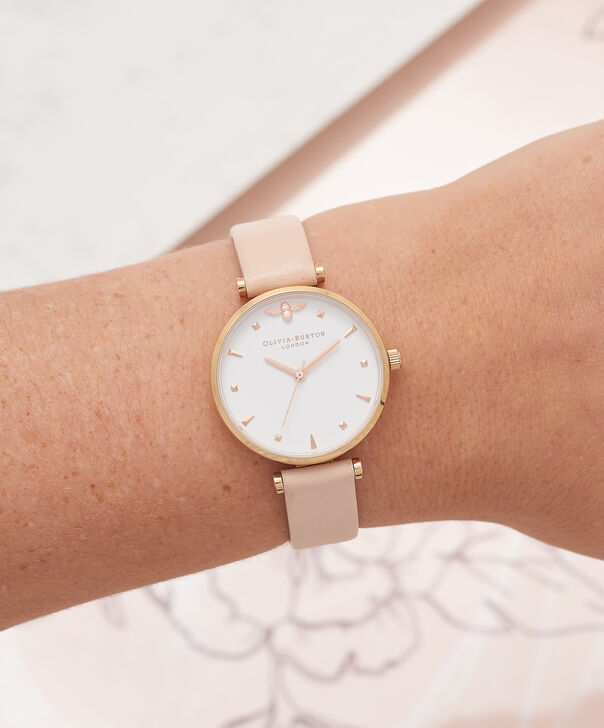 OLIVIA BURTON LONDON  T-Bar Nude Peach & Rose Gold Watch OB16AM95 – Midi Dial Round in White and Peach - Other view
