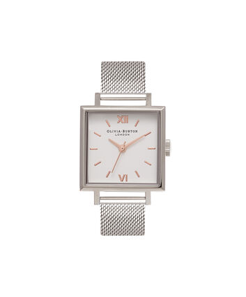 OLIVIA BURTON LONDON Square DialOB16SS12 – Big Dial Square in White and Silver - Front view