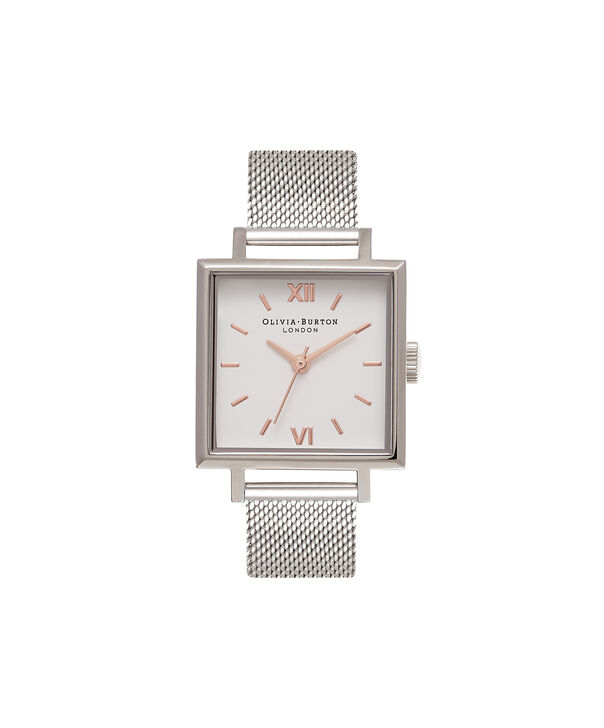 OLIVIA BURTON LONDON  Big Square Dial Silver Mesh Watch OB16SS12 – Big Dial Square in White and Silver - Front view