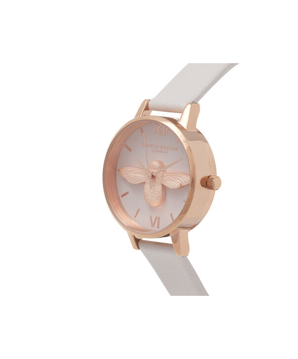 OLIVIA BURTON LONDON  3D Bee Blush Dial Blush & Rose Gold Watch OB16AM85 – Midi Dial Round in Blush - Side view