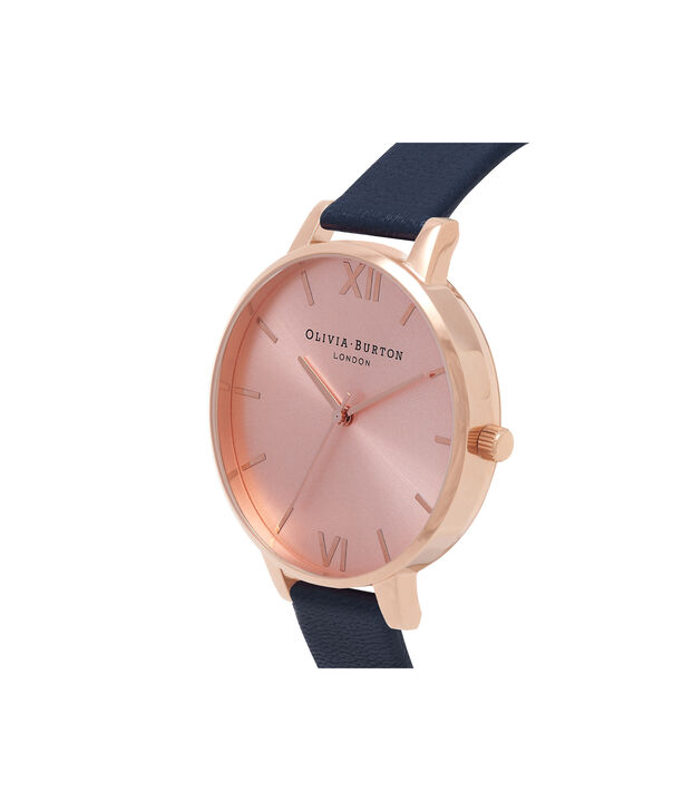 OLIVIA BURTON LONDON  Big Dial Navy And Rose Gold Watch OB13BD13B – Big Dial Round in Rose Gold and Navy - Side view