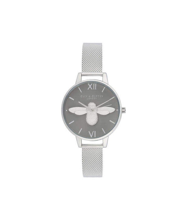 OLIVIA BURTON LONDON 3D Bee Demi Dial WatchOB16AM159 – Demi Dial in silver and Silver - Front view