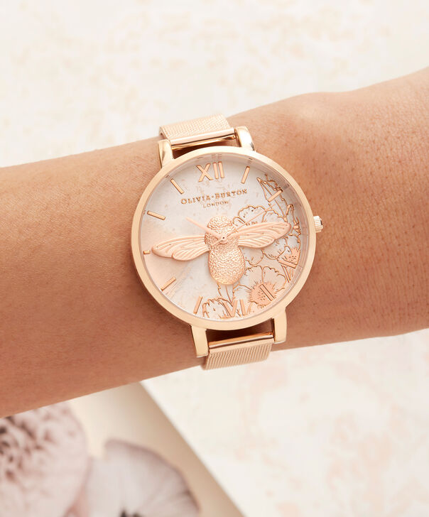 OLIVIA BURTON LONDON  Abstract Florals Rose Gold Mesh OB16VM26 – Big Dial Round in Rose Gold - Other view