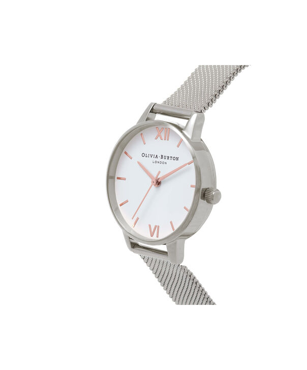OLIVIA BURTON LONDON  Midi Dial White Dial & Silver Mesh Watch OB16MDW22 – Midi Dial Round in White - Side view