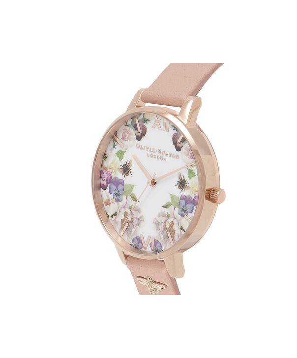 OLIVIA BURTON LONDON  Enchanted Garden Dusty Pink & Rose Gold OB16EG111 – Big Dial Round in Rose Gold and Pink - Side view
