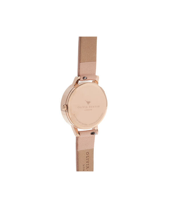 OLIVIA BURTON LONDON  3D Bee Nude Peach & Rose Gold Watch OB16AM124 – Midi Dial Chocolate and Peach - Back view