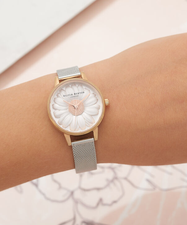 OLIVIA BURTON LONDON  3D Daisy Rose Gold & Silver Mesh Watch OB16FS94 – Midi Dial Round in White and Silver - Other view
