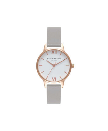OLIVIA BURTON LONDON  White Dial Grey & Rose Gold Watch OB16MDW05 – Midi Dial Round in White and Grey - Front view