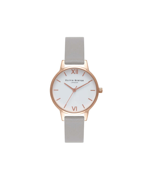 a8cc31216 OLIVIA BURTON LONDON White Dial Grey & Rose Gold Watch OB16MDW05 – Midi Dial  Round in ...