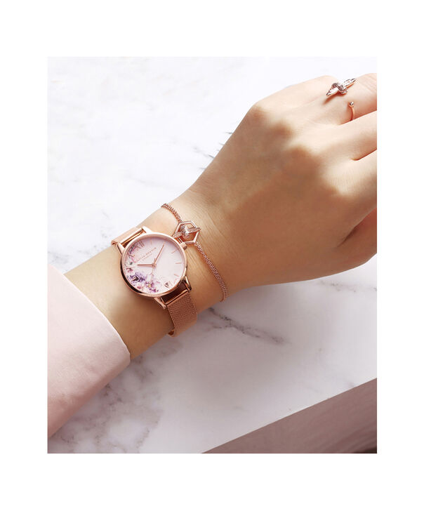 OLIVIA BURTON LONDON  Watercolour Florals Gold Mesh Watch OB16PP39 – Midi Dial Round in White and Rose Gold - Other view