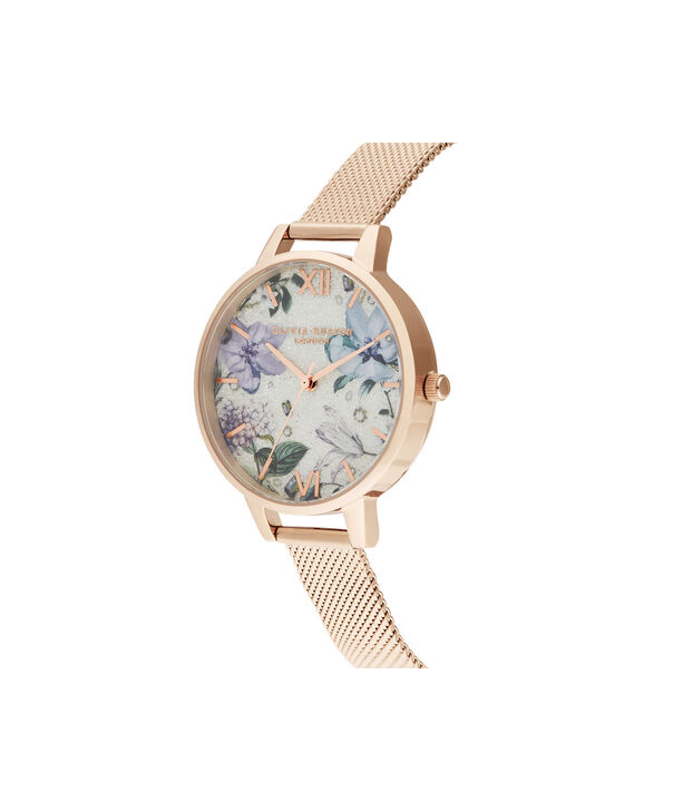OLIVIA BURTON LONDON Bejewelled Florals Silver Glitter Dial & Rose Gold MeshOB16BF27 – Demi Dial In Rose Gold And Rose Gold - Side view