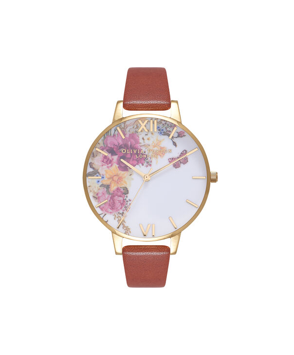 OLIVIA BURTON LONDON  Enchanted Garden Tan & Gold Watch OB16EG94 – Big Dial Round in Floral and Gold - Front view