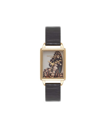 OLIVIA BURTON LONDON  Woodland Animals Black & Gold Watch OB16WL63 – Midi Dial Rectangular in White and Black - Front view
