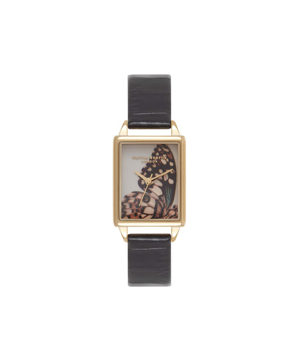 Ladies Woodland Animals Black & Gold Watch | Olivia Burton London