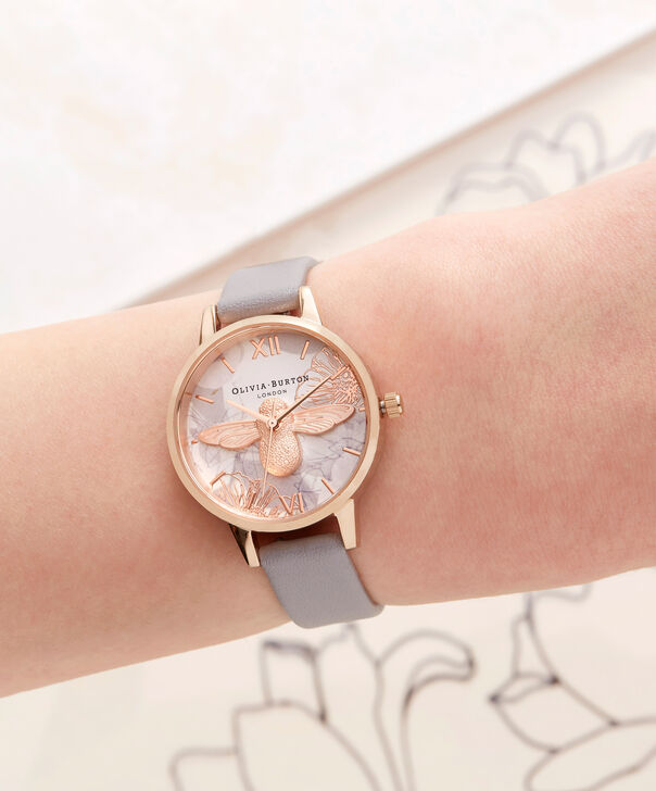 OLIVIA BURTON LONDON Abstract Florals Grey Lilac & Rose Gold Watch OB16VM17 – Midi Round in Rose Gold and Grey Lilac - Other view