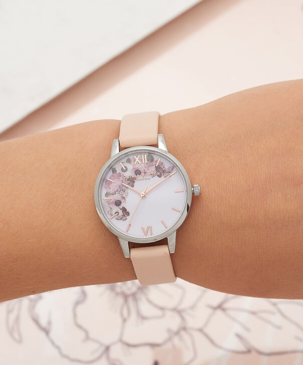 OLIVIA BURTON LONDON  Midi Signature Floral Nude Peach, Silver & Rose Gold Watch OB16EG75 – Midi Dial in White Floral and Peach - Other view