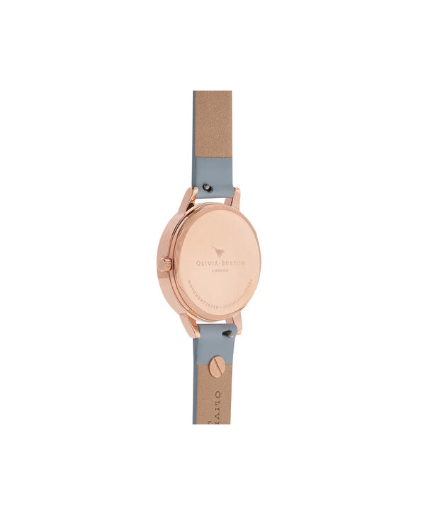 OLIVIA BURTON LONDON  Pretty Blossom Blue & Rose Gold Watch OB16ES08 – Midi Dial Round in Rose Gold and Chalk Blue - Back view