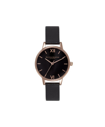 OLIVIA BURTON LONDON  Midi Dial Black Dial And Rose Gold Watch OB15MD42 – Midi Dial Round in Black - Front view
