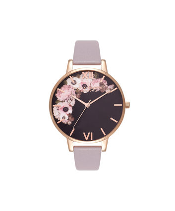 OLIVIA BURTON LONDON  Winter Garden Grey Lilac & Rose Gold Watch OB16WG19 – Big Dial Round in Grey Lilac - Front view
