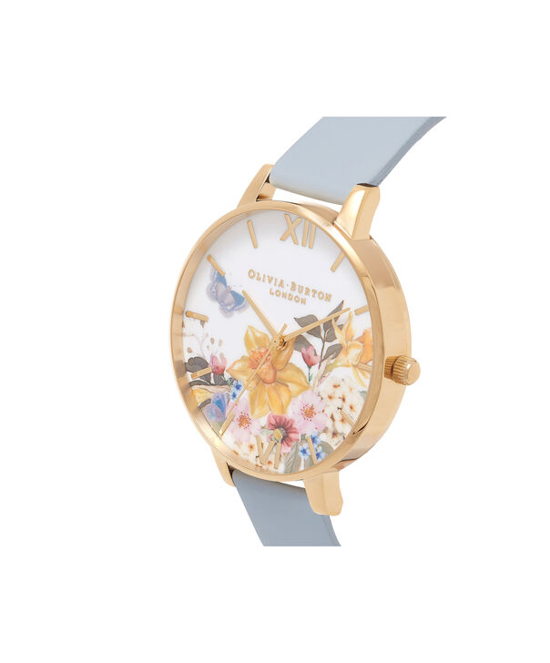 OLIVIA BURTON LONDON  Enchanted Gardens Blue & Rose Gold Watch OB16FS96 – Big Dial Round in Blue and Floral - Side view