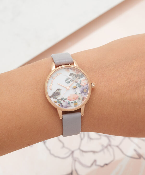 OLIVIA BURTON LONDON English Garden Grey Lilac & Rose Gold Watch OB16ER13 – Midi Dial in White and Grey Lilac - Other view