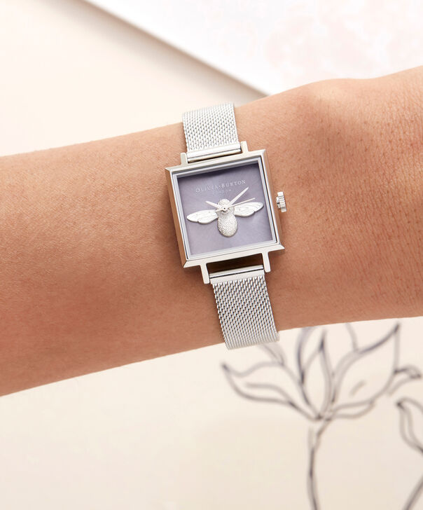 OLIVIA BURTON LONDON  Square Dial 3D Bee Stainless Steel Mesh Watch OB16AM136 – Midi Square Silver - Other view