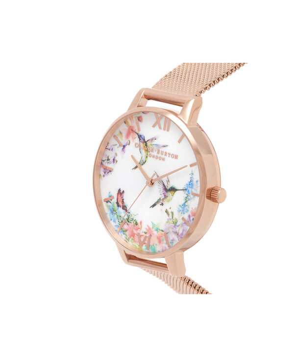 OLIVIA BURTON LONDON  Painterly Prints Hummingbird Nude Peach & Rose Gold Watch OB16PP21 – Big Dial Round in Floral and Rose Gold - Side view