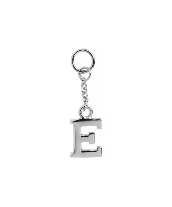 OLIVIA BURTON LONDON  E Alphabet Huggie Charm Silver OBJ16HCSE – Charms - Front view
