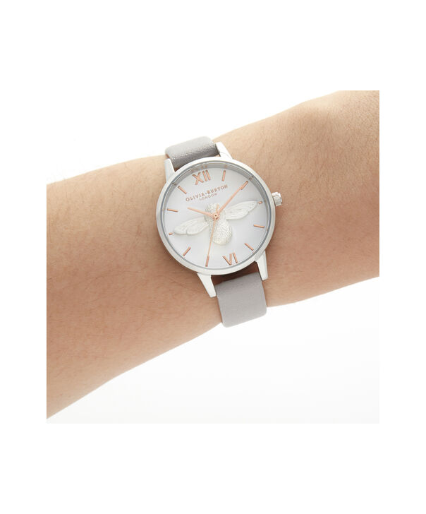 OLIVIA BURTON LONDON 3D Bee Midi Dial Grey Lilac Rose Gold & SilverOB16AM163 – Demi Dial In Grey And Silver - Other view