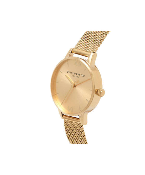 OLIVIA BURTON LONDON  Sunray Dial Midi Dial Gold Mesh OB16MD85 – Midi Dial Round in Gold - Side view