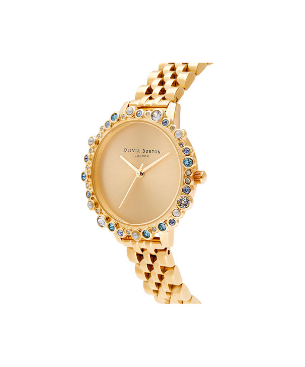 OLIVIA BURTON LONDON Limited Edition Bejewelled Case Watch, Gold BraceletOB16US30 – Bejewelled Case Watch - Side view