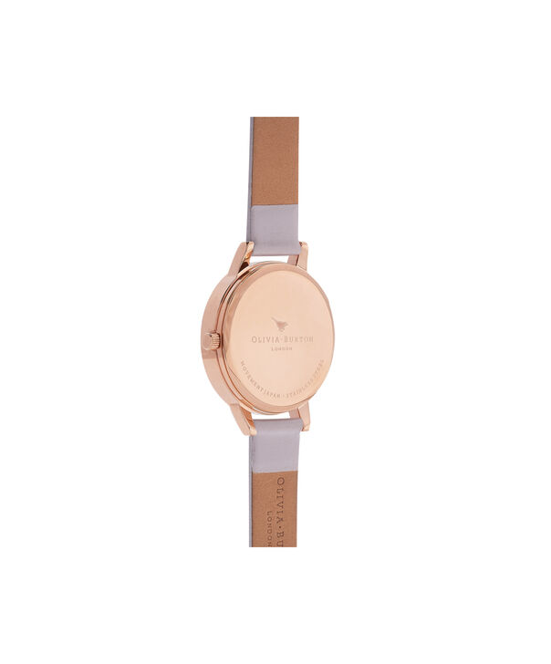 OLIVIA BURTON LONDON  Midi Dial Grey Lilac & Rose Gold Watch OB16MDW32 – Midi Dial Round in White and Grey Lilac - Back view