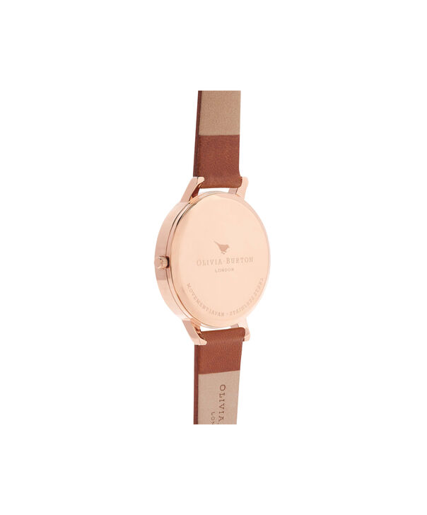 OLIVIA BURTON LONDON  White Dial Tan & Rose Gold Watch OB16BDW19 – Big Dial Round in White and Tan - Back view