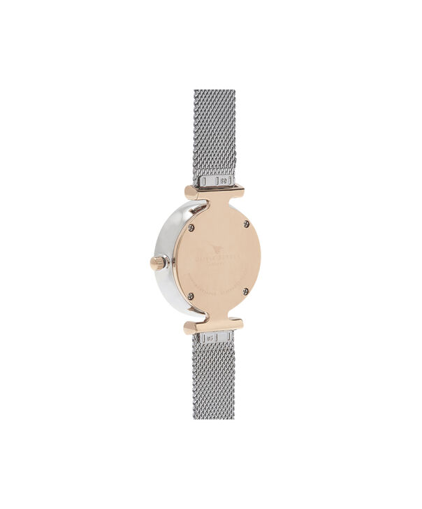 OLIVIA BURTON LONDON  Queen Bee Silver Mesh Watch OB16AM140 – Midi Dial Round in White and Rose Gold - Back view