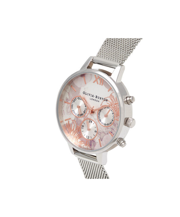 OLIVIA BURTON LONDON  Chrono Demi Dial Silver Mesh OB16CGS06 – Demi Dial Round in Silver and Silver - Side view
