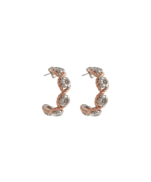 OLIVIA BURTON LONDON  Flower Show Rope Hoop Earrings Silver and Rose Gold OBJ16FSE07 – Floral Charm Hoop Earrings - Front view