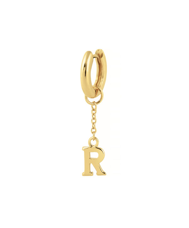 OLIVIA BURTON LONDON  R Alphabet Huggie Charm Gold OBJ16HCGR – Charms - Side view