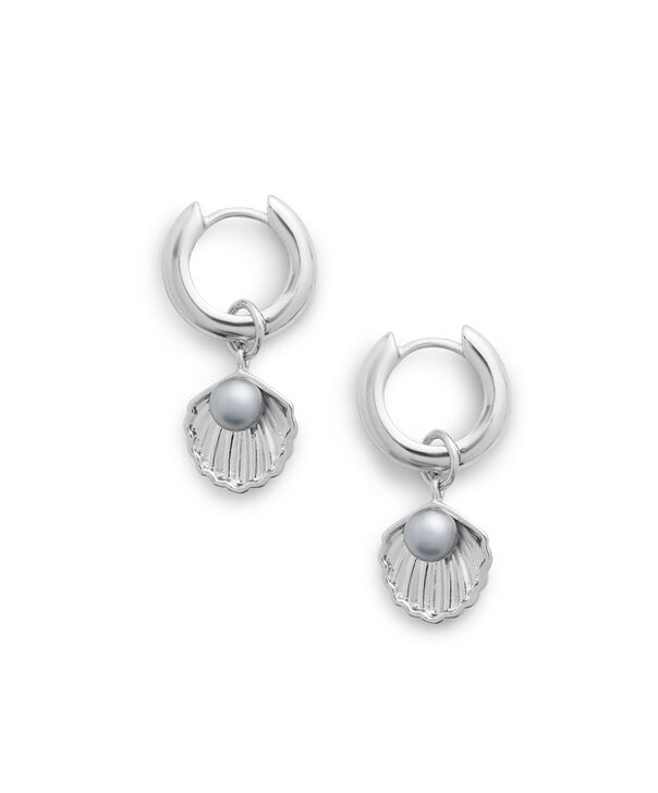 OLIVIA BURTON LONDON Under The Sea Shell Huggie Hoops White Pearl & SilverOBJSCE07 – SHOPBAG_LABEL - Side view