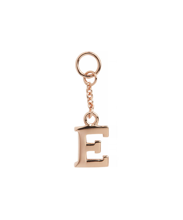 OLIVIA BURTON LONDON  E Alphabet Huggie Charm Rose Gold OBJ16HCRGE – Charms - Front view