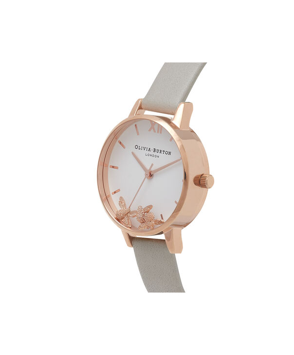 OLIVIA BURTON LONDON Busy Bees Grey & Rose Gold Watch OB16CH03 – Midi Dial Round in White and Grey - Side view