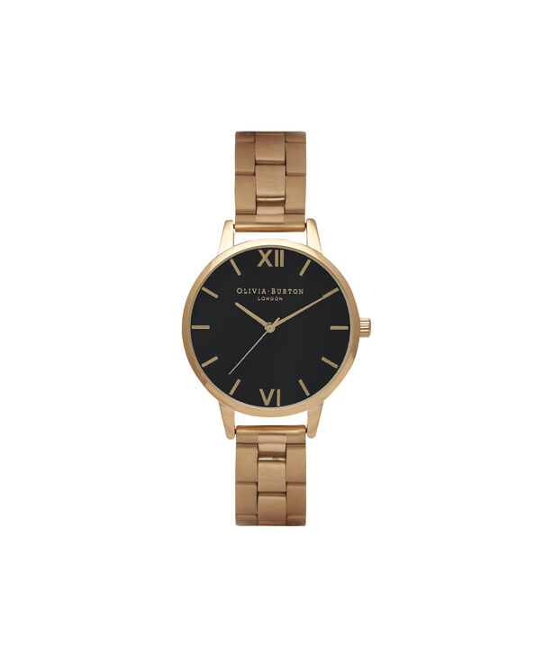 OLIVIA BURTON LONDON  Black Dial & Gold Watch OB15BL26 – Big Dial Round in Black and Gold - Front view