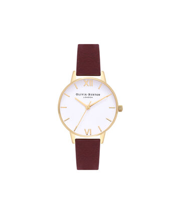 OLIVIA BURTON LONDON White DialOB16MDW31 – Midi Dial Round in Rose Gold, White and Burgundy - Front view