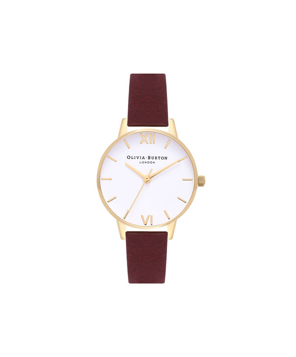 OLIVIA BURTON LONDON  Midi White Dial Burgundy & Gold Watch  OB16MDW31 – Midi Dial Round in Rose Gold, White and Burgundy - Front view