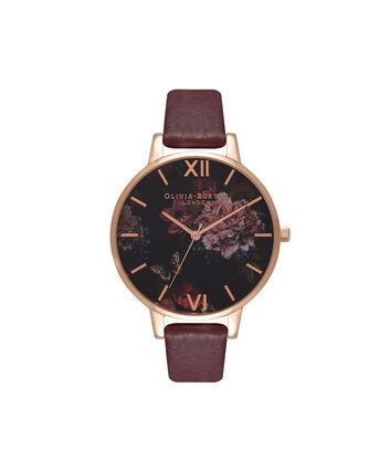 OLIVIA BURTON LONDON  Winter Garden Burgundy & Rose Gold Watch OB16WG24 – Big Dial Round in Burgundy - Front view