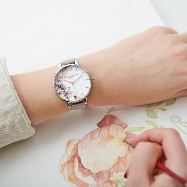 OLIVIA BURTON LONDON  Watercolour Florals Grey Lilac & Silver Watch OB16PP32 – Big Dial Round in Floral and Grey Lilac - Other view